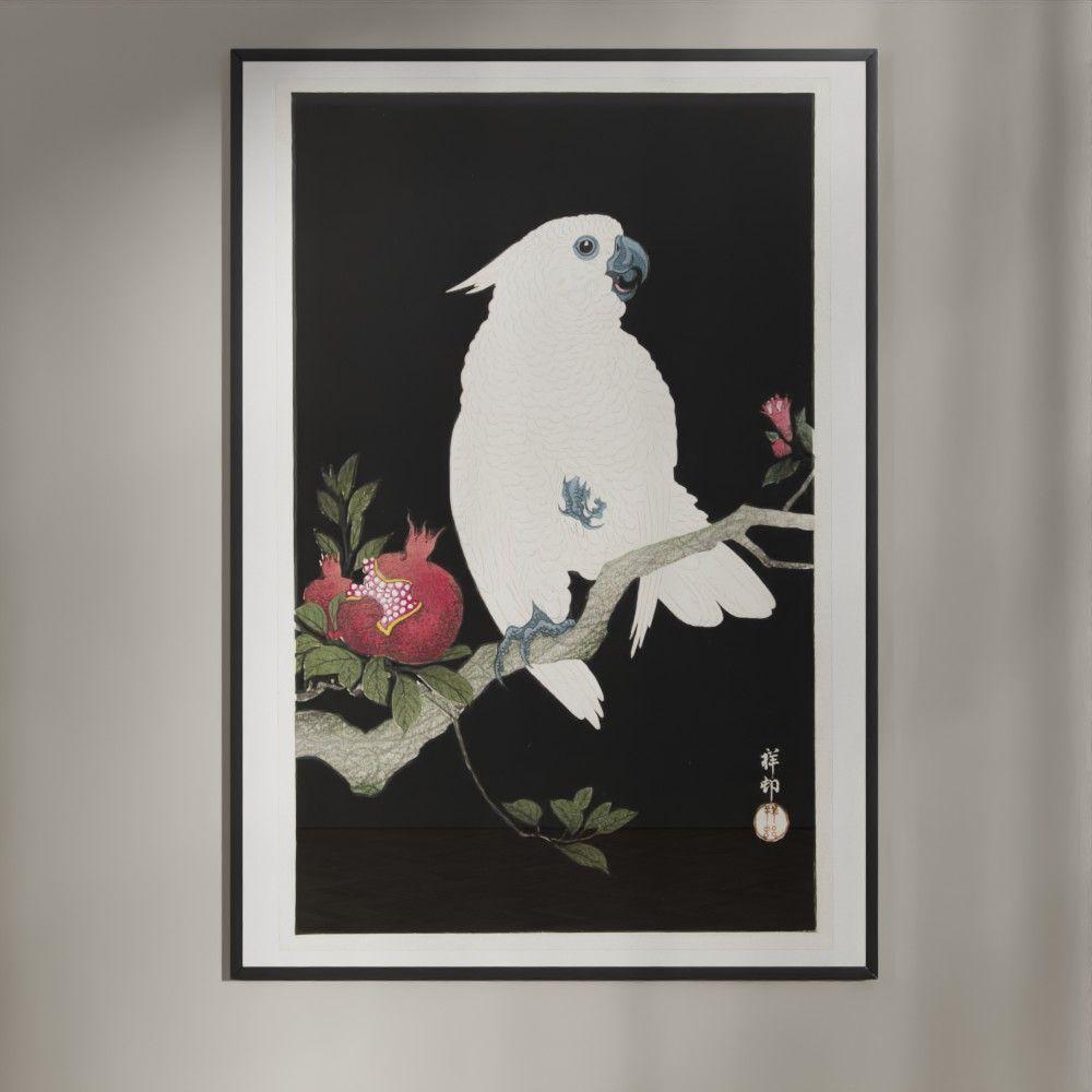 Granatæbletyven - Plakat med kakadue efter japansk træsnit af Ohara Koson