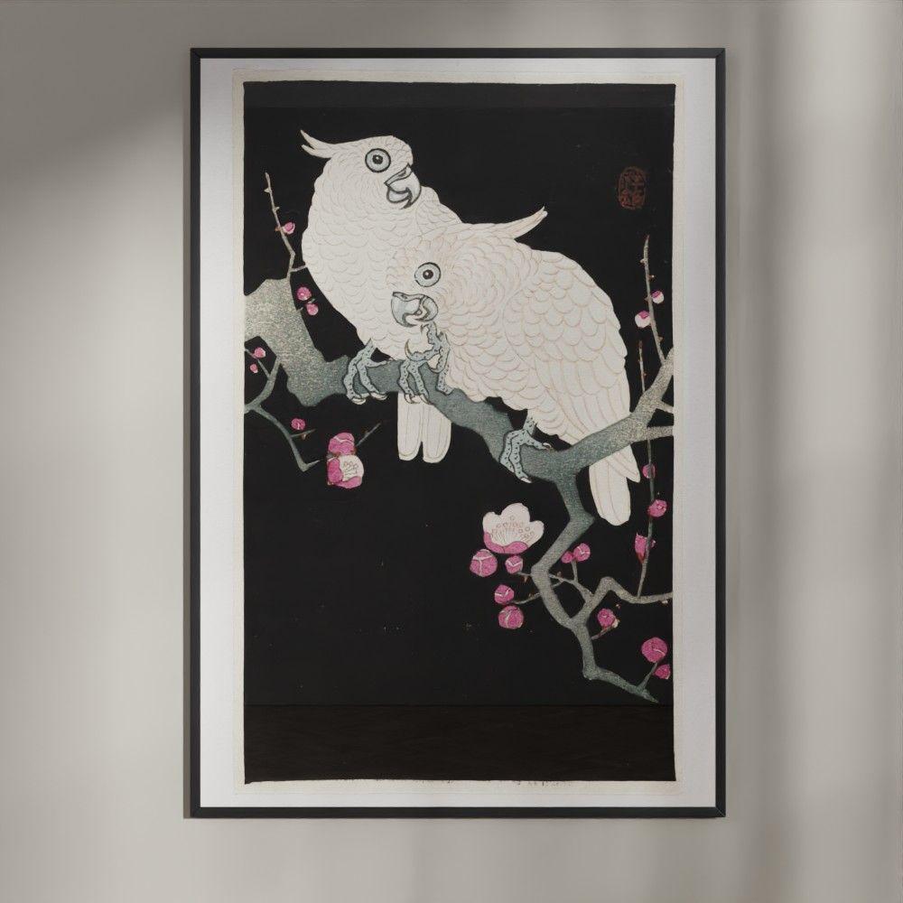 Plakat med To kakaduer og blomme-blomster Japansk træsnit plakat af Ohara Koson