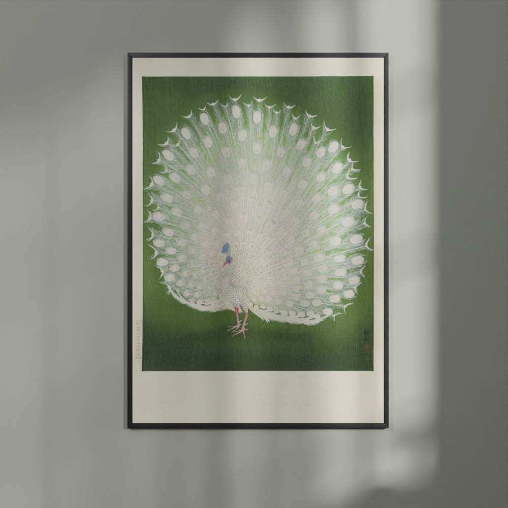 Plakat - Japansk træsnit - Hvid påfugl på grøn baggrund - Ohara Koson