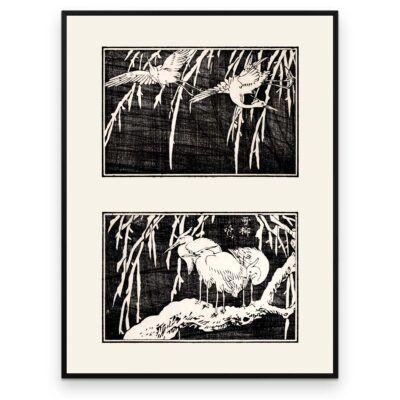 Plakat - Hejrerne i træet - Japansk Træsnit - Aruhana
