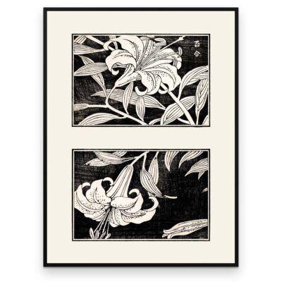 Plakat - Liljer i blomst - Japansk Træsnit - Aruhana