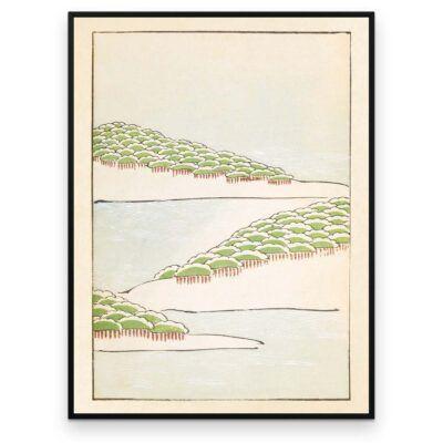 Plakat - Skovbakker ved vandet - Japansk Træsnit - Aruhana