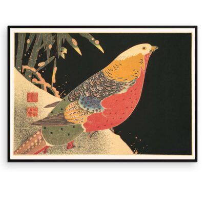 Plakat - Japansk træsnit - Guldfasanen - Aruhana