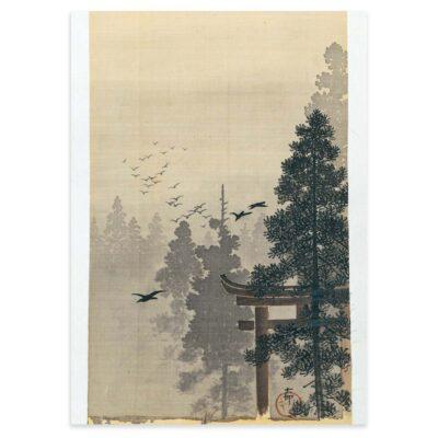 Plakat - Japansk Træsnit - Landskab med fugleflok af Ohara Koson 50x70cm