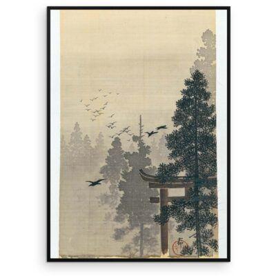 Plakat - Japansk Træsnit - Landskab med fugleflok af Ohara Koson - Aruhana
