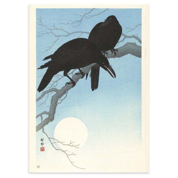 Plakat - Japans Træsnit - To krager på en gren - Ohara Koson 50x70cm