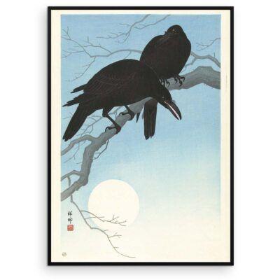 Plakat - Japans Træsnit - To krager på en gren - Ohara Koson - Aruhana