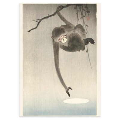 Plakat - Japansk Træsnit - Aben og månen - Ohara Koson 50x70cm