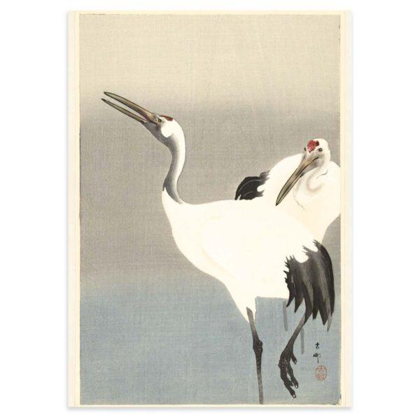 Plakat - Japansk træsnit - To traner i disen - Ohara Koson 50x70cm