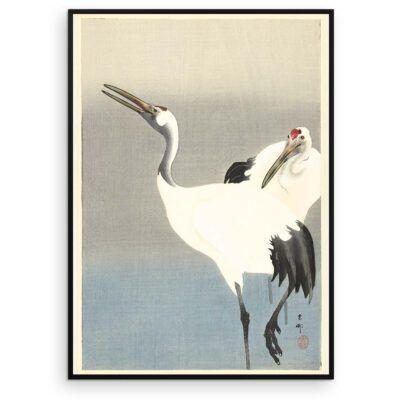 Plakat - Japansk træsnit - To traner i disen - Ohara Koson - Aruhana