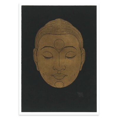 Plakat - Buddha-hoved på mørk baggrund - Reijer Stolk træsnit plakat 50x70cm