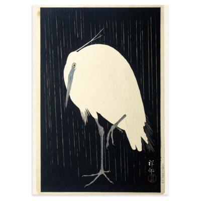 Plakat - Japansk træsnit - Hejre i regnvejr af Ohara Koson 50x70cm
