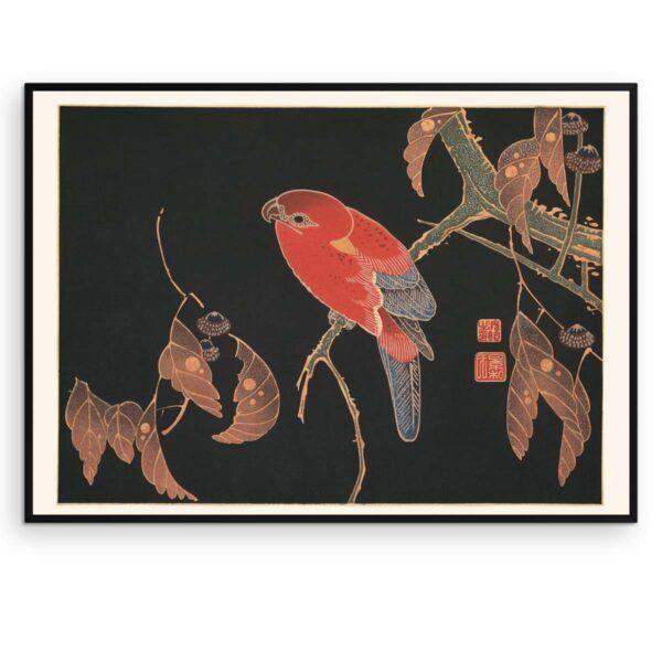 Plakat - Japansk træsnit - Den røde papegøje - Aruhana