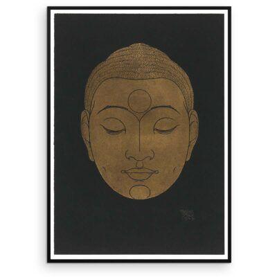 Plakat - Buddha-hoved på mørk baggrund - Reijer Stolk træsnit plakat Aruhana