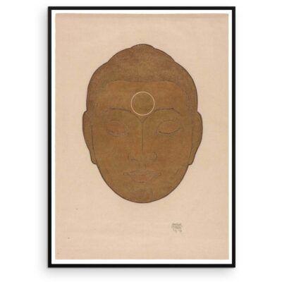 Plakat - Buddha-hoved på lys baggrund - Reijer Stolk træsnit plakat - Aruhana