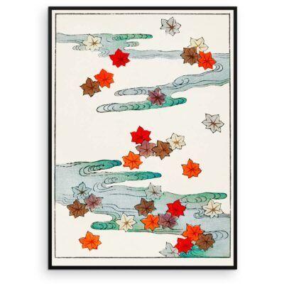 Japandi Plakat - Efterårsblade og vand - Japansk træsnit af Watanabe Seitei - Aruhana