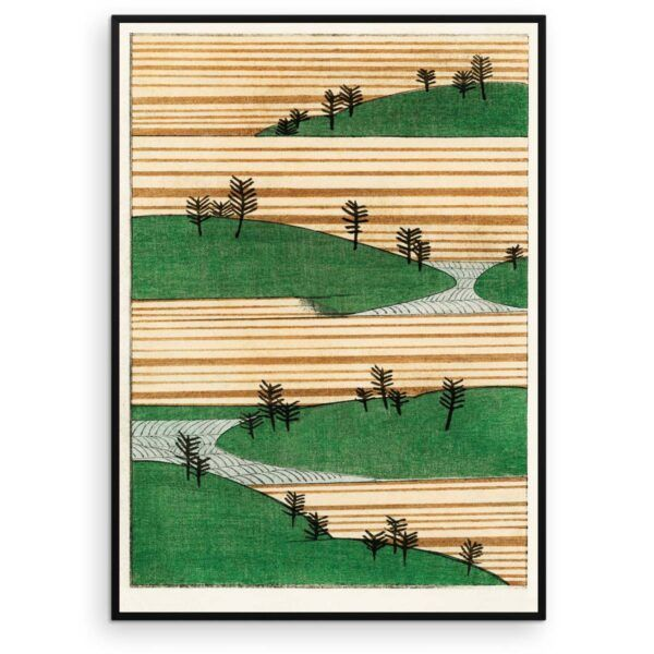 Plakat - Landskab med bakker og træer - Japansk træsnit - Aruhana