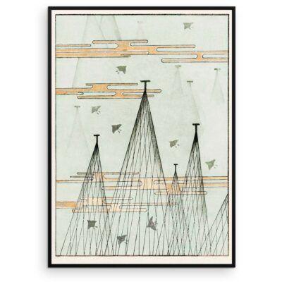 Japandi Plakat - Sky-landskab med fugle - Japansk træsnit af Watanabe Seitei - Aruhana