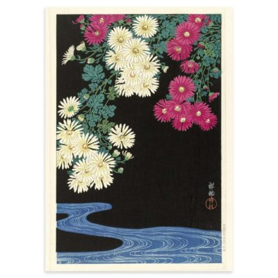 Plakat - Japansk Træsnit - Chrysanthemum og løbende vand 50x70cm