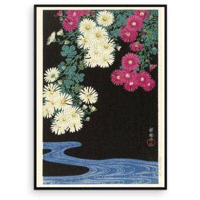 Plakat - Japansk Træsnit - Chrysanthemum og løbende vand - Aruhana