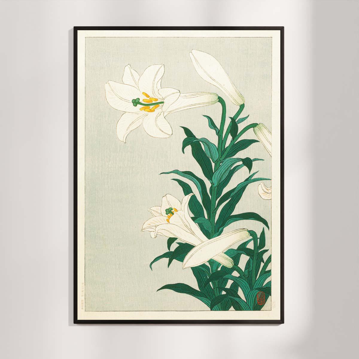 Plakat - Liljer - Japansk Træsnit af Ohara Koson
