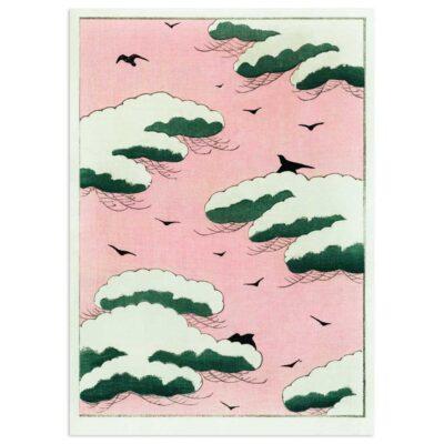 Plakat - I den lyserøde himmel - Japansk træsnit 50x70cm