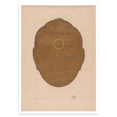 Plakat - Buddha-hoved på lys baggrund - Reijer Stolk træsnit plakat 50x70cm