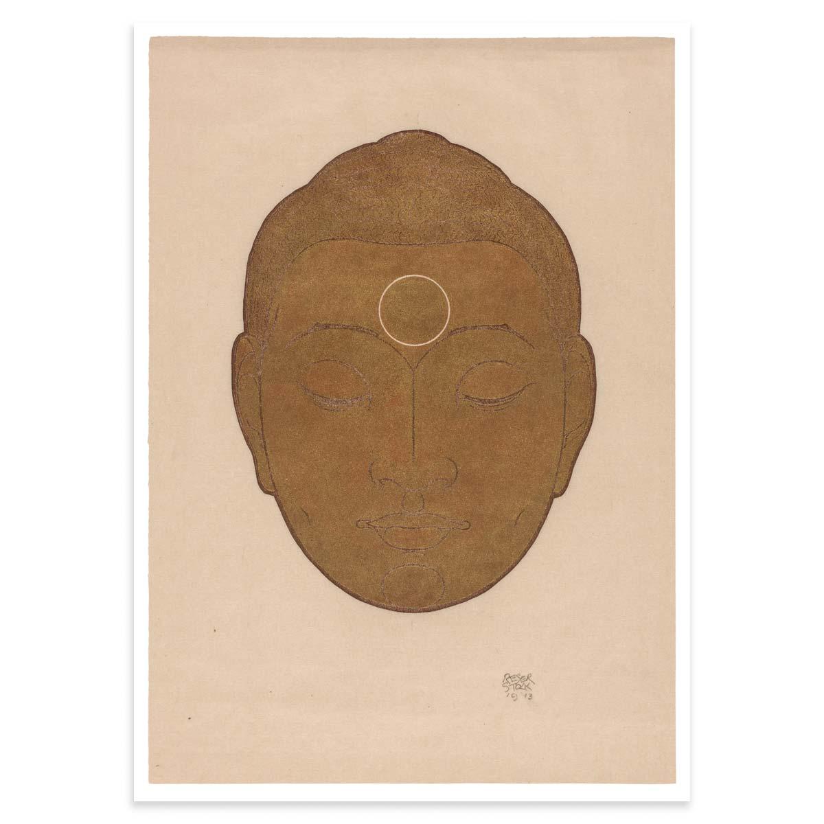 Plakat - Træsnit - Gyldent Buddha-hoved af Reijer Stolk