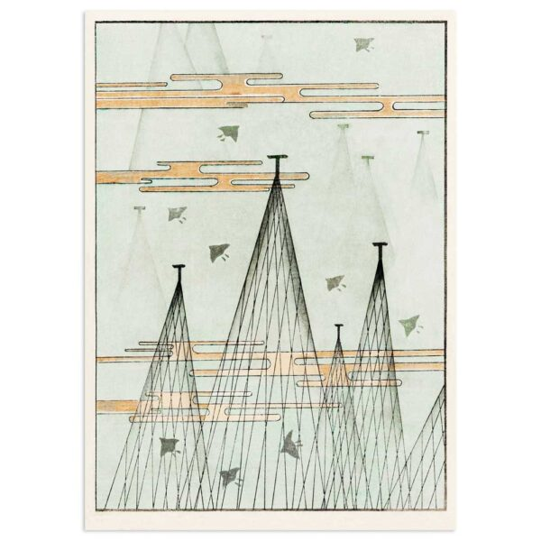 Plakat - Sky-landskab med fugle - Japansk træsnit af Watanabe Seitei 50x70cm