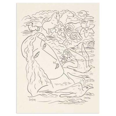 Plakat - Stregtegning - Drømmen om havet - Leo Gestel 30x40cm