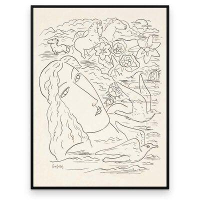 Plakat - Stregtegning - Drømmen om havet - Leo Gestel - Aruhana