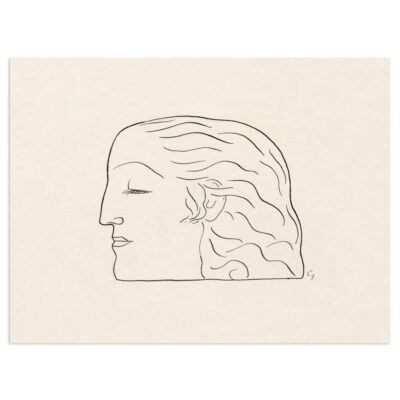 Plakat - Stregtegning - Kvindehoved af Leo Gestel 30x40cm