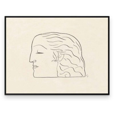 Plakat - Stregtegning - Kvindehoved af Leo Gestel - Aruhana