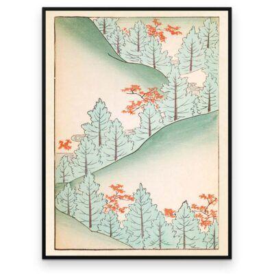 Plakat - Bakkeland med træer - Japansk Træsnit - Aruhana