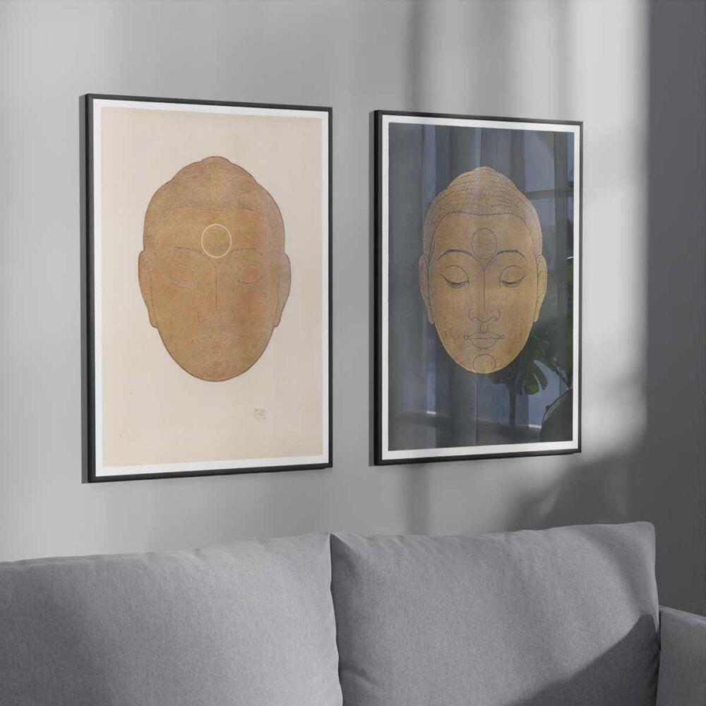 Buddhaplakat - Buddha-hoved plakat efter træsnit af Reijer Stolk - Aruhana