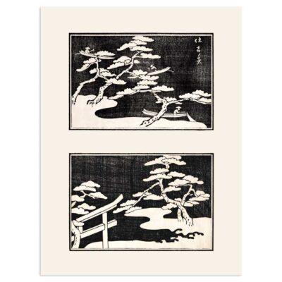 Plakat - Fiskere på søen - Japansk Træsnit 30x40cm
