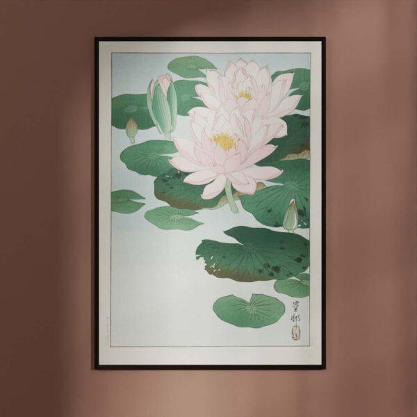 Plakat - Blomstrende Åkander - Ohara Koson Japansk Træsnit