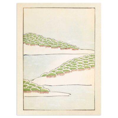 Plakat - Skovbakker ved vandet - Japansk Træsnit 30x40cm