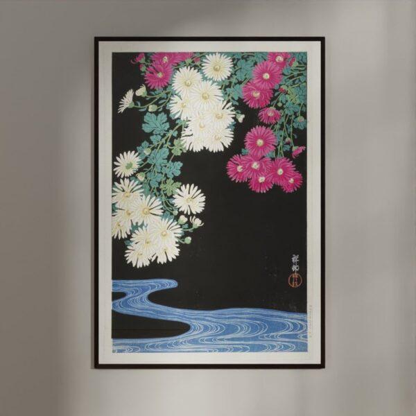 Plakat - Japansk Træsnit - Chrysanthemum og løbende vand
