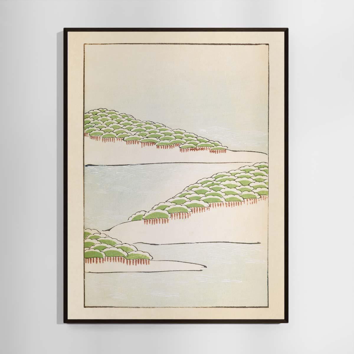 Plakat - Japansk Træsnit - Skovbakker ved vandet