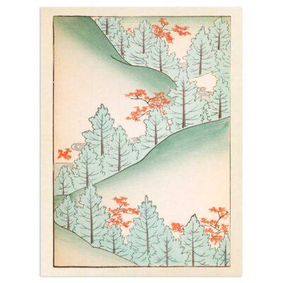 Plakat - Bakkeland med træer - Japansk Træsnit 30x40cm