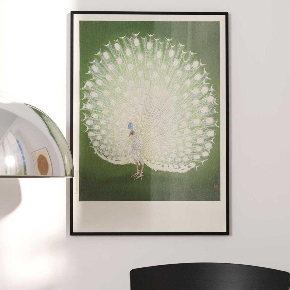 Hvid påfugl - Ohara Koson Japansk træsnit plakat