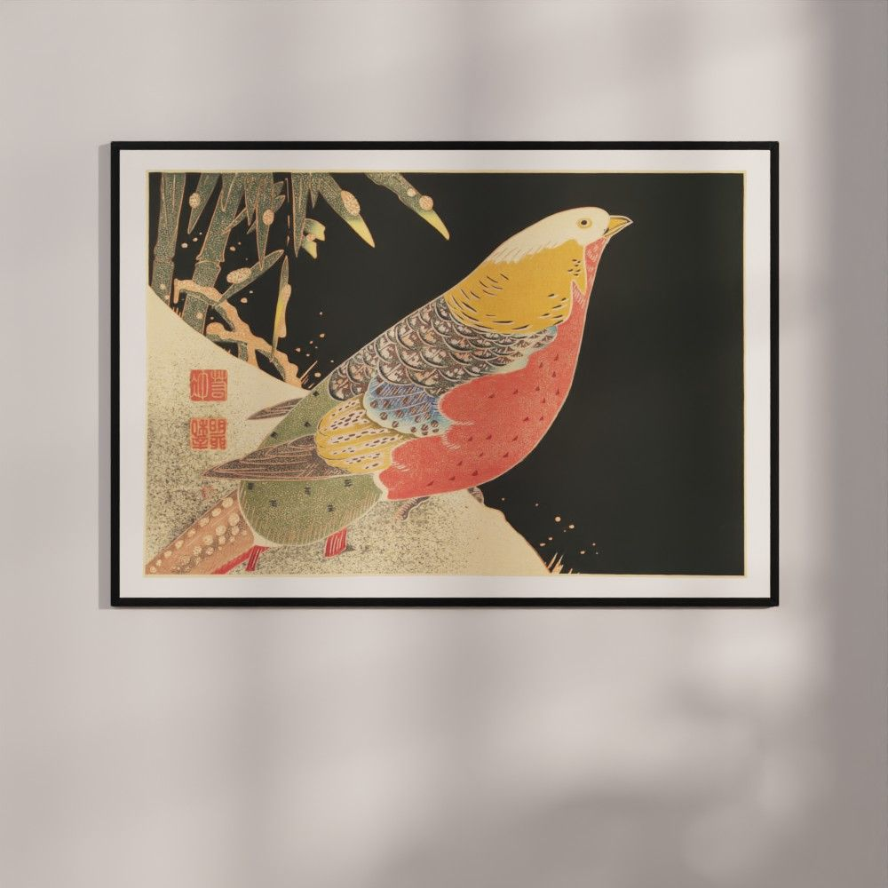 Plakat - Japansk træsnit - Guldfasanen