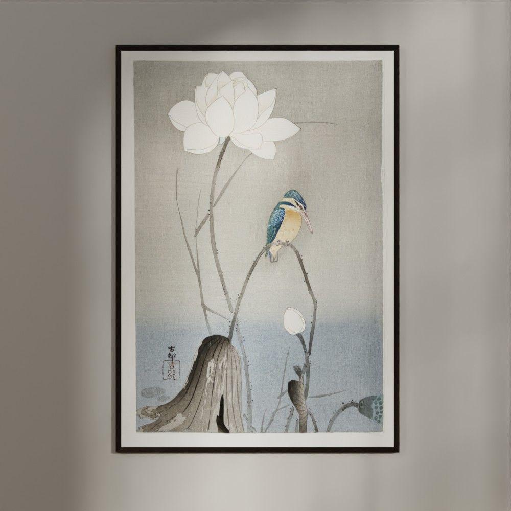 Plakat - Japansk Træsnit - Isfugl med Lotus Blomst
