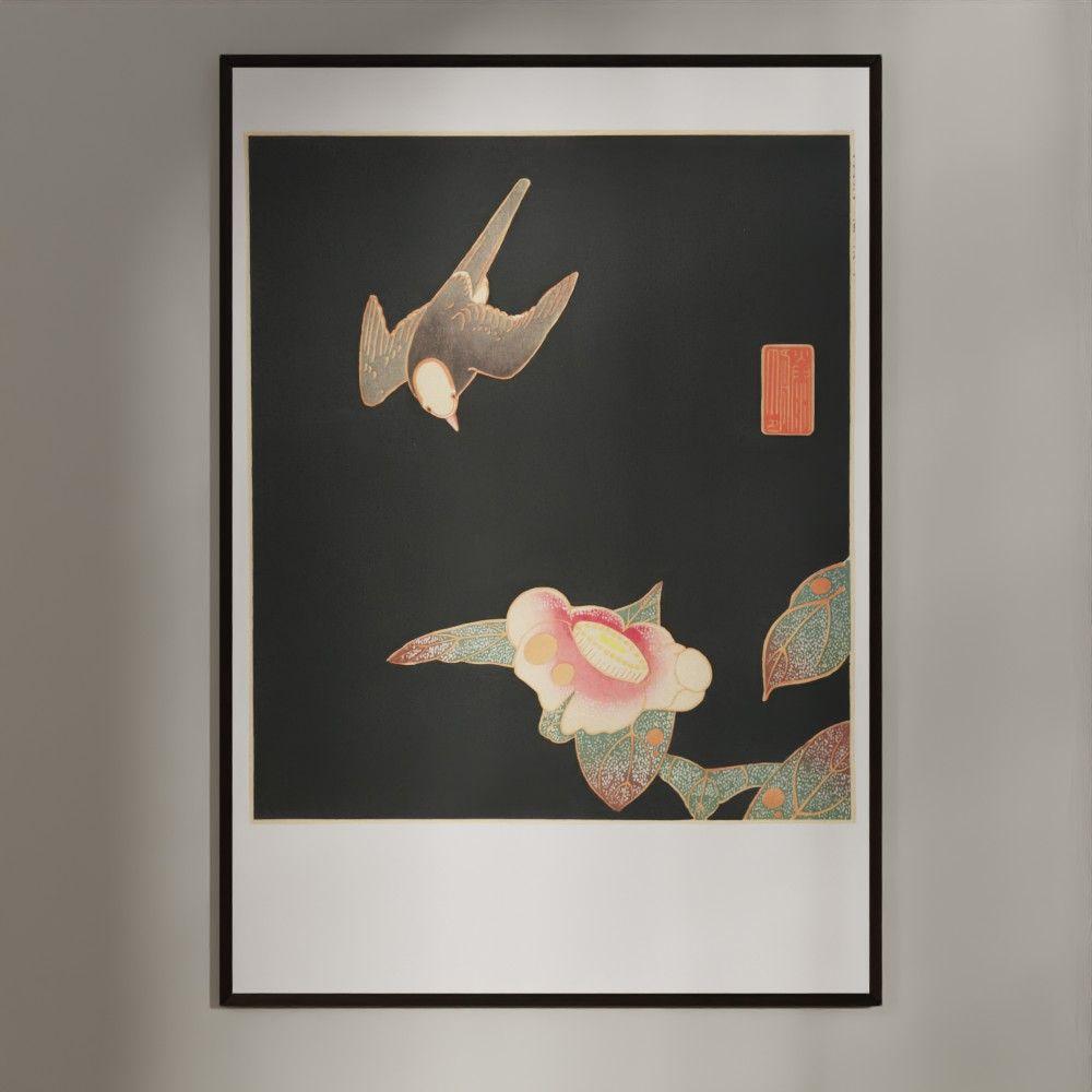 Plakat - Japansk træsnit - Svale og kamelia blomst
