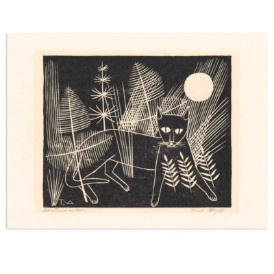 Plakat - Træsnit - Katten Jeroen på jagt 40x30cm