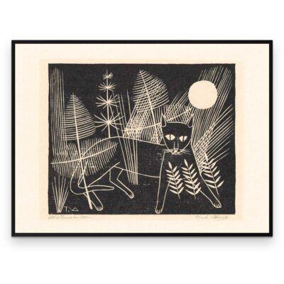 Plakat - Træsnit - Katten Jeroen på jagt - Aruhana