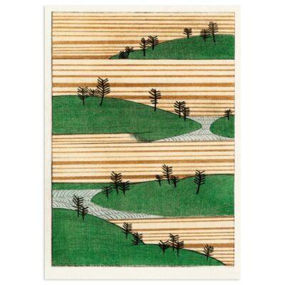 Plakat - Landskab med bakker og træer - Japansk træsnit 50x70cm