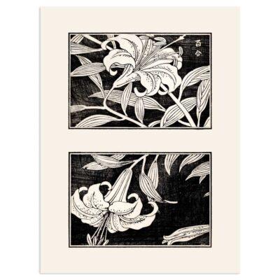 Plakat - Liljer i blomst - Japansk Træsnit 30x40cm