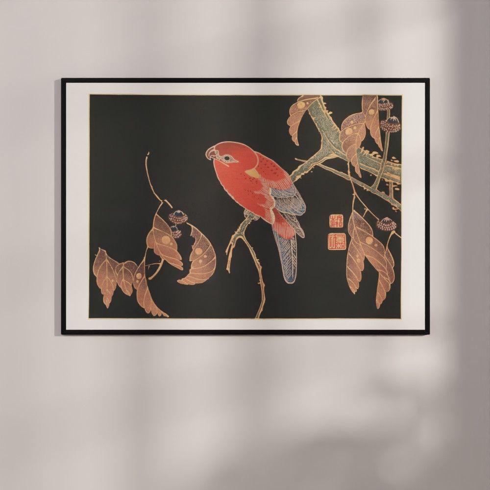 Plakat - Japansk træsnit - Den røde papegøje